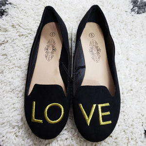 NWT Charles Albert LOVE Black & Gold Loafers